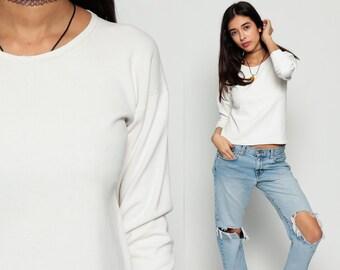Long Sleeve Shirt Plain 80s T Shirt Grunge White Top Hipster Retro Tee Vintage Cotton Tshirt Normcore Basic Small Medium
