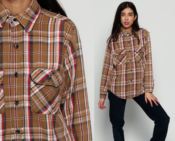 Plaid flannel shirt button up 70s brown red white checkered for White shirt brown buttons