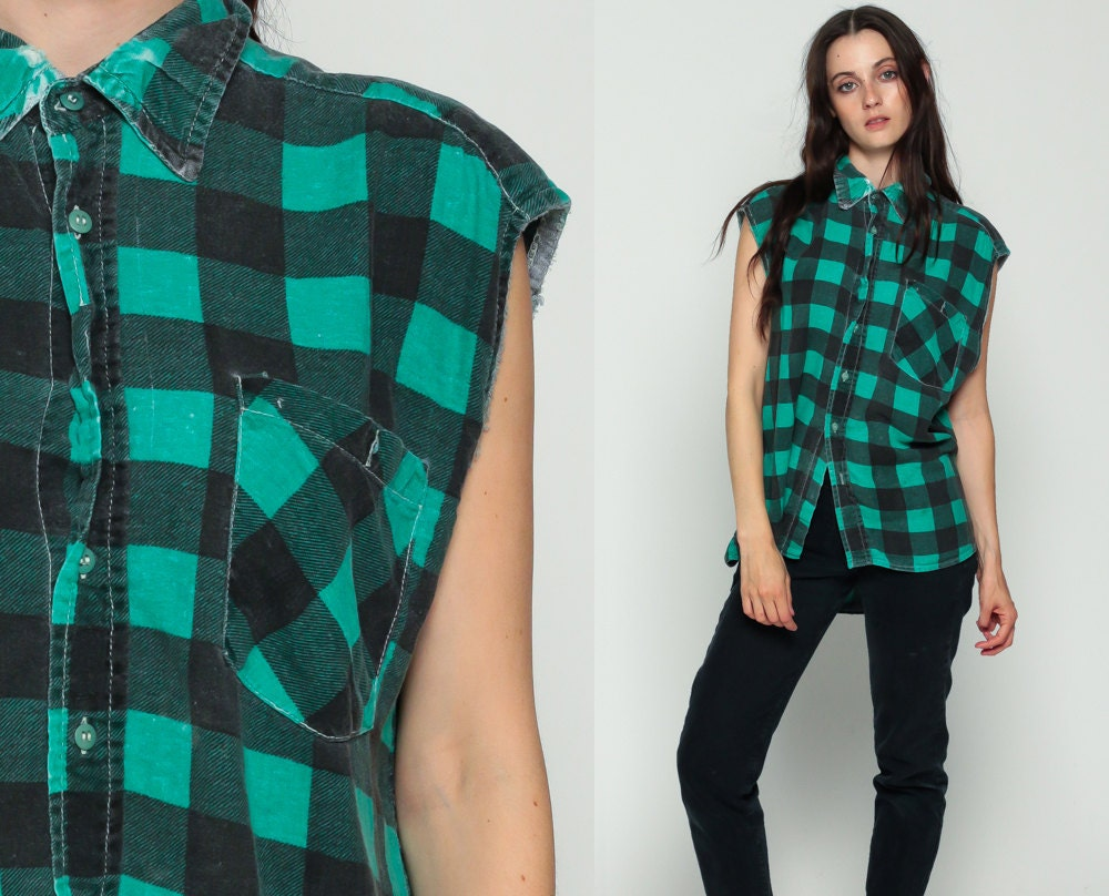 Plaid flannel shirt vest 90s green buffalo plaid sleeveless for Flannel shirt and vest