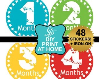 DIY 48 printable baby month stickers Instant download monthly age stickers Iron on Digital File (No.50)