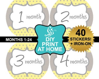 DIY 40 printable baby month stickers Instant download yellow gray polka dots Iron on Digital File (No.142)