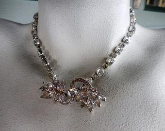 Vintage Signed Eisenberg Crystal Clear Rhinestone Necklace