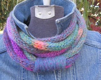 Bright Hand Knit Infinity Scarf