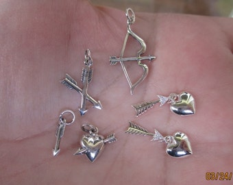Sterling Silver Heart and arrow, double arrow, bow and arrow, or small arrow charms