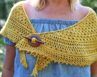 Mahogany Shawl Pin - Handmade Wooden Shawl Pin in Reclaimed Wood - Eco Knitting Supplies