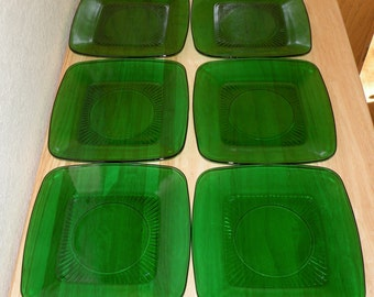 6 Forest Green Anchor Hocking Luncheon Plates