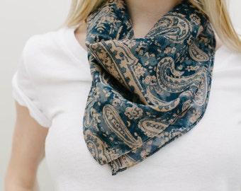 Blue Liberty of London Silk Scarf, Neckerchief, Neck Scarf, Square Scarf, Neck Tie Scarf, Silk Cotton Scarf, Libery of London Scarf