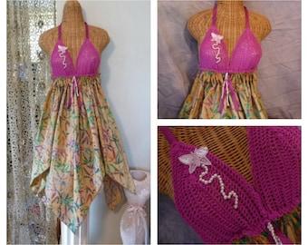 Batik Butterfly Dress Tunic Crochet Bra Doily Small, Medium, Large, XL or 1X, Pink Magenta Juniors Womens Faerie Fairy Boho by Savoyfaire