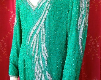 Stunning 1980s Swee Lo Label Dynasty Jolie Drag Queen Emerald Green Silk Beaded Glamorous Dress XL NWT 40 Bust