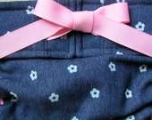 NEW Dog Diapers Britches or Panties Soft Dark Blue Denim with Mini White Flowers and Pink Ribbon Trim