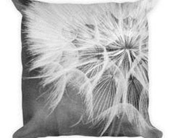 dandelion pillow, throw pillow, nature, flower, black & white, close up, home decor, unique, macro, dandelion art