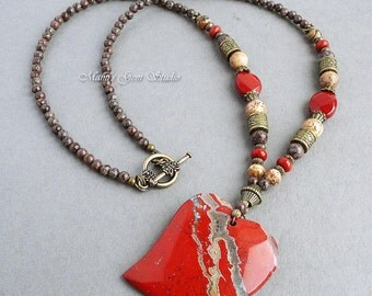 Heart Stone Pendant Necklace, Red and Brown Jasper Beaded Necklace, Handmade Jewelry, Gift for Her