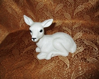 White Porcelain Lying Deer Figurine Mexico