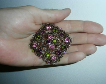 Brooch/Pin  AUSTRIAN LITES  Sarah Coventry ~ Jewelry ~  Multi  Colored Rhinestone Large Brooch/Pin
