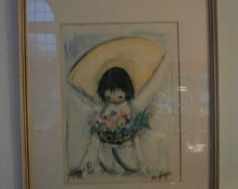 "1977  DeGrazia  ""Flower Girl"" Framed & Matted 1/1  Signed  by Ted DeGrazia called the ""Flower Girl"""