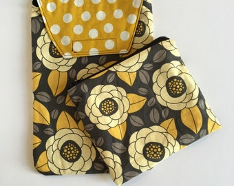 Floral mustard yellow grey Baby shower gift Essentials Set - Diaper Pouch/Wet bag
