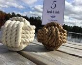 20-24 Nautical Wedding Rope Table Number Holders - 5 inch - Beach Wedding Decor - Manila or Cotton