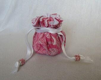 Travel Jewelry Pouch - Mini Size - Drawstring Jewelry Tote - Jewelry Bag - VINTAGE LACE