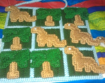 Dinosaur and Trees Tic Tac Toe Game Plastic Canvas