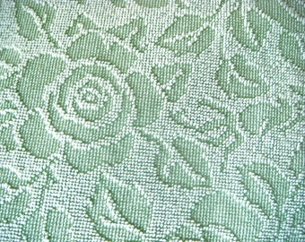 Fieldcrest Green Cabbage Roses Hobnail Vintage Cotton Chenille Bedspread Fabric 12 x 24 Inches