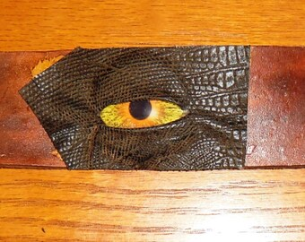 Huge eye leather bracelet