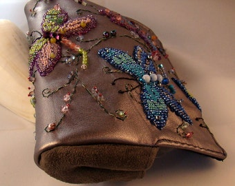 Dragon Fly Bead Embroidered Clutch purse OOAK, silver leather, blues, greeens, purples, pinks, beaded