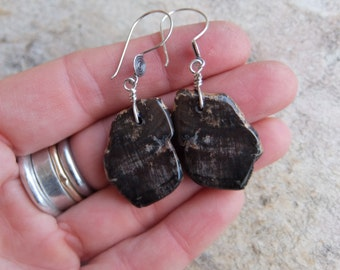 Petrified Wood earrings - organic natural stone jewelry in dark brown - hand cut by NaturesArtMelbourne