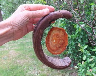 "Large Nature Mobile - ""Magic Moon"" - wood moon embraces Agate - Australian Natures Art"