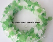 Beach Decor Sea Glass Wreath - Nautical Decor Beach Glass Wreath in Lt. Green or Any Color