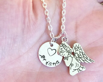 Personalized  name angel charm disc Necklace gift