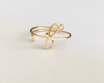 Adjustable initial Ring wire ring,  Wire Wrapped Ring, Adjustable handmade wire rings