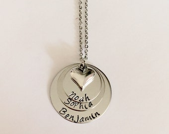 Personalized Stainless steel Necklace- 3 layered with Heart mom necklace