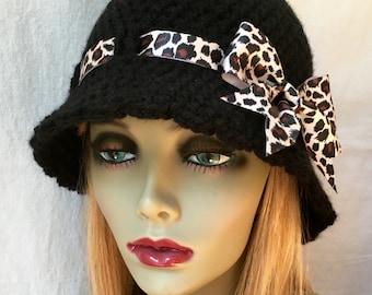 Crochet Cloche Womens Hat, Leopard Print Ribbon, Animal theme, Fall Winter Hat, Birthday Gifts, GIfts Under 50, Handmade, JE276CR2