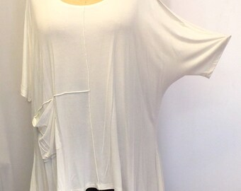 Coco and Juan Lagenlook  Womens Plus Size Top Cold Shoulder, White Rayon Knit Angled Tunic Top, One Size Bust  to 58 inches