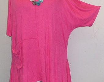 Coco and Juan Lagenlook,  Womens Plus Size Top, Cold Shoulder, Pink Rayon Knit  Angled Tunic Top One Size Bust  to 58 inches