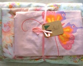 Vintage Remixed Full sheet set in pretty pink flowers / vintage full flat sheet / full fitted sheet / vintage pillowcases