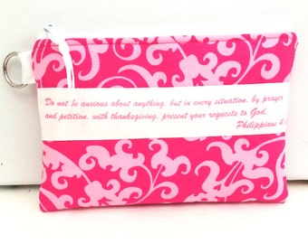Bible Verse Zippered Bag, Pouch, pouch, Makeup pouch, Gift for her, Gift for woman, Christian Gift
