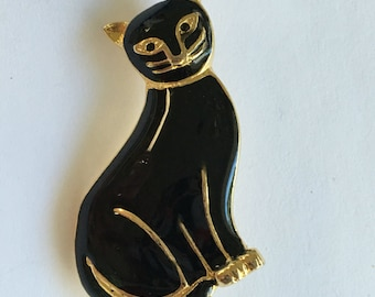 Vintage Black Enamel Kitty Cat Pin