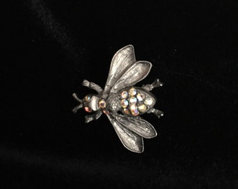Vintage AB Aurora Borealis Bee Bug Pin