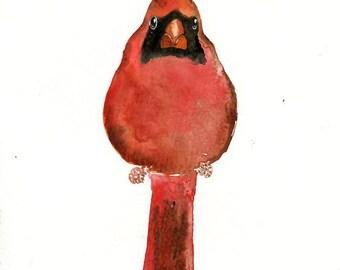 CARDINAL Original watercolor painting 8x10inch(Vertical orientation)