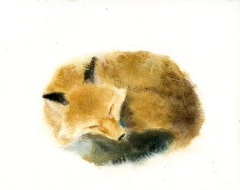 FOX Original watercolor painting 10x8inch