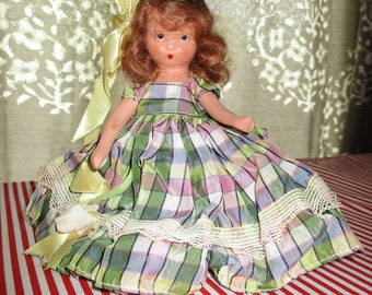 Nancy Ann Storybook Doll, FREE SHIPPING, Bisque,Early NASD, 1940's, Redhead , Plaid Taffeta, Story Book, Frozen Leg