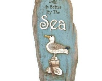 Hand Painted Driftwood Sign | Seagull on Driftwood | Life Is Better By The Sea