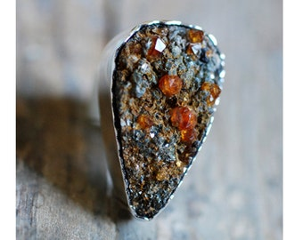Raw Spessartite Drusy Garnet Ring