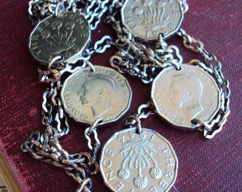 vintage Long Chain Necklace British Three Pence Coin Medallions English Scottish Thrift Plant Long Dog Bone Chain Silver Jewelry
