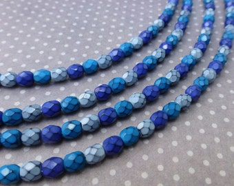free UK postage - Fire polished beads 4mm Snake Beads Ocean Mix - 38 beads per strand