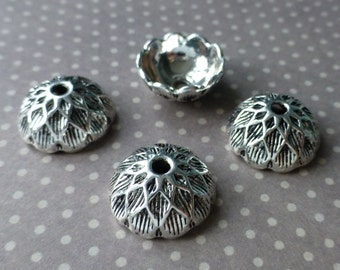 30 pcs Antique Silver Acorn Bead Cap 15 mm