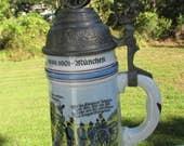 Vintage West German Porcelain MILITARY STEIN Lithophane Bottom 3 D Cannon Lid