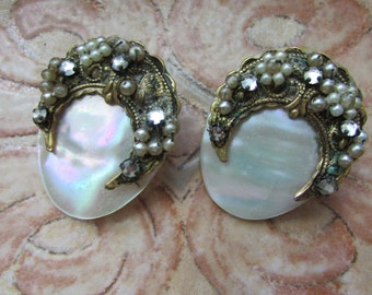 Beautiful Antique Clip Earrings ABALONE and Seed Pearls