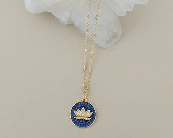 Blue and Gold Lotus Charm Necklace. Cz. Cubic zirconia. Blue sapphire. Unique. Gift. Chain. Spiritual. New beginnings. Sparkle.